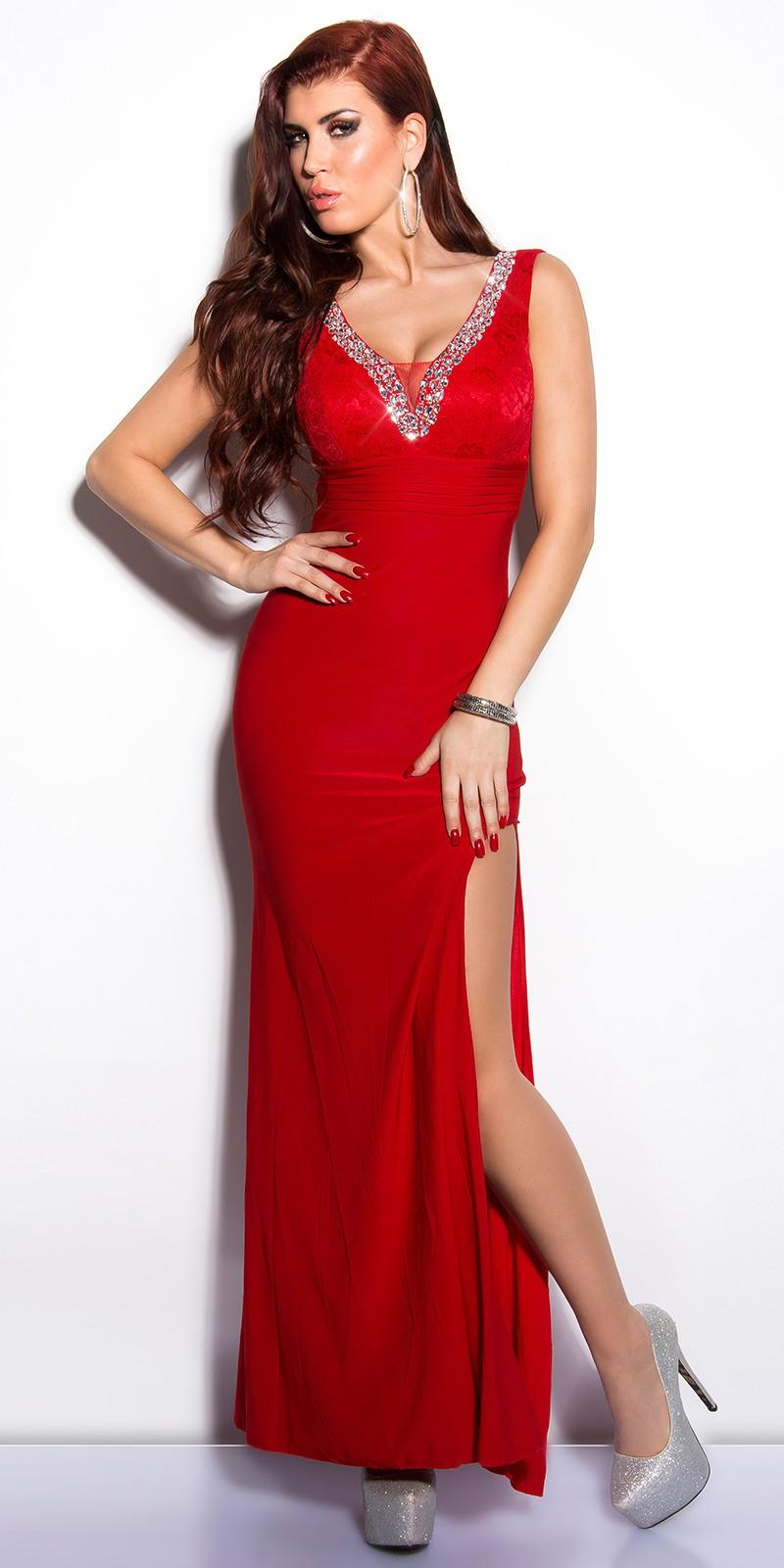 Elegantné šaty Koucla s čipkou a kamienkami   červené bdc41d1c468