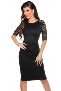 e3f8438f6cbf Elegantné púzdrové šaty s čipkovanými rukávmi   čierne