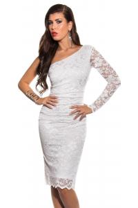 Midi šaty na jedno rameno   biele 9e25afbad0