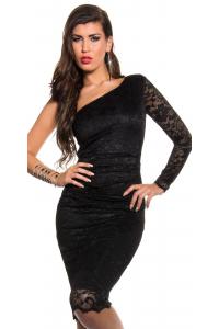 Midi šaty na jedno rameno   čierne 1747c90717