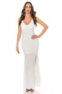 71e33b01c482 Spoločenské šaty s čipkou a mašľou   biele