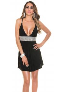 Obrázok pre Letné šaty s výstrihom a štrasom   čierne 91e6b97db22