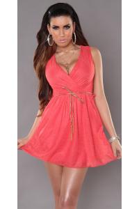 059ccb1473dd Mini šaty s V výstrihom a opaskom   koral