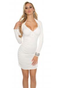 Pletené šaty s kamienkovým zipsom   biele 4e8ee47b44d