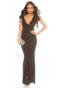 Dlhé spoločenské šaty s flitrami   čierne 1ecf13cb908