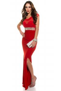 Spoločenské šaty s kamienkami a tylom  červené ef9551a3c36
