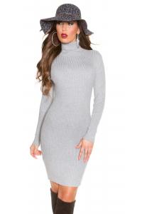 f7b393e68a52 Rolákové pletené šaty   šedé