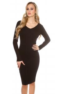 Obrázok pre Jednoduché úpletové šaty   čierne dcaafc74993