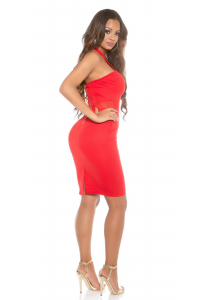 7ff81d34384c Sexi púzdrové šaty s tylom   červené