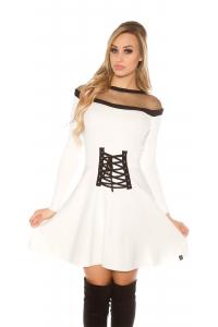 Elegantné úpletové šaty   biele 5582ce801dc