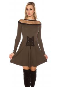 Obrázok pre Elegantné úpletové šaty   khaki 704313fad24