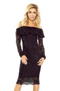 MM 021-1 Elegantné krajkové šaty s volánom   čierné 6a8e6f57e69