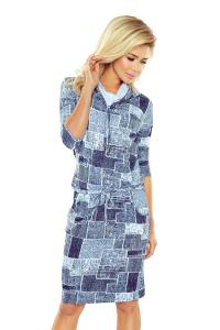 44-17 Športové šaty s rolákom  jeansová modrá fc7bdb78d46