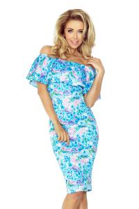 9c548b9358e3 138-5 Púzdrové šaty s odhalenými ramenami a volánom   modré