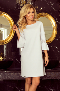 190-2 MARGARET šaty s čipkou na rukávoch   bledošedé 3e6f3947005
