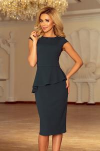 192-1 Elegantné midi šaty s volánom   tmavozelené 0c42396005d