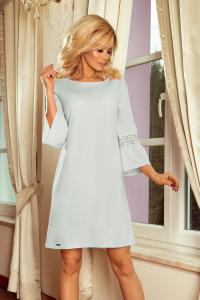 650606549280 190-5 MARGARET šaty s čipkou na rukávoch   svetlo sivé