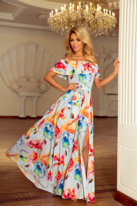 194-1 Dlhé šaty so španielskym výstrihom   biele s kvetmi b6d5ec705f8