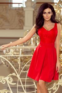 208-2 Šaty s čipkou a výstrihom   červené df970a289c3