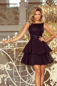 ff690bdf04dc 206-2 DEVI volánové šaty s krajkou   čierne