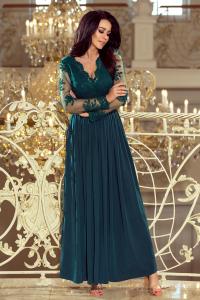 33cf0951e99 213-1 ARATI dlhé šaty s krajkovým výstrihom   zelené