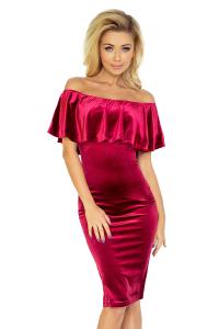 Obrázok pre 138-3 Púzdrové šaty s odhalenými ramenami a volánom   bordové d6a5ebee8e9