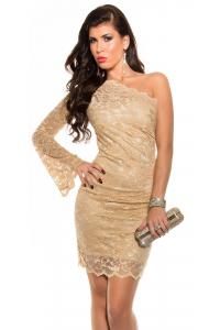 Obrázok pre Asymetrické čipkované šaty   šampaň 1b9b76d9ab5