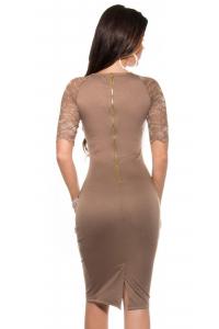 5942e9536d7a Obrázok pre Elegantné púzdrové šaty s čipkovanými rukávmi   kapučíno