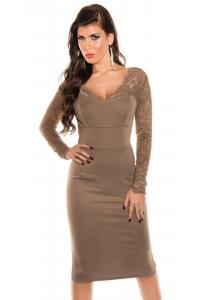 Obrázok pre Elegantné púzdrové šaty s čipkou   kapučíno f090a997fd8