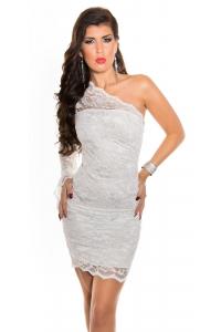 2c710c8364a4 Obrázok pre Asymetrické čipkované šaty   biele