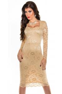 432a76707699 Obrázok pre Čipkované šaty Elegant   šampaň