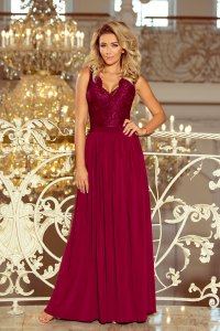 5f9935e20fe0 211-2 LEA dlhé šaty s krajkou   bordové
