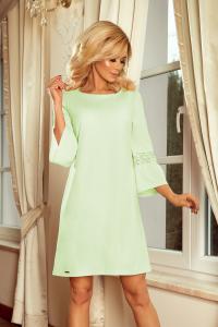 190-9 MARGARET šaty s čipkou na rukávoch   pistáciové 9805da68f3