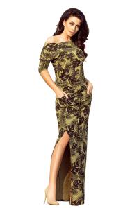 642950d603af 220-2 Športové šaty MAXI s rázporkom   khaki s listami