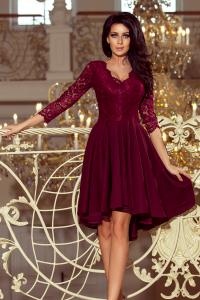 Obrázok pre 210-1 NICOLLE - asymetrické šaty s krajkou   bordové 137bcfdff3a