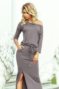 d239a971c83ee 220-6 Športové šaty MAXI s rázporkom / sivé