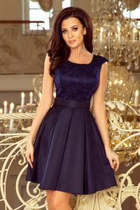 7cb0e2c5593c 244-2 FLORA šaty s okrúhlym výstrihom a čipkou   granátové