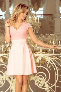9e2c85037afc 242-1 ANNA šaty s výstrihom a čipkou   pastelovo ružové