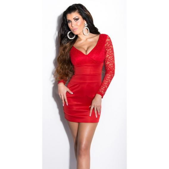 Obrázok pre Štýlové šaty s čipkou   červené ffc3275a184