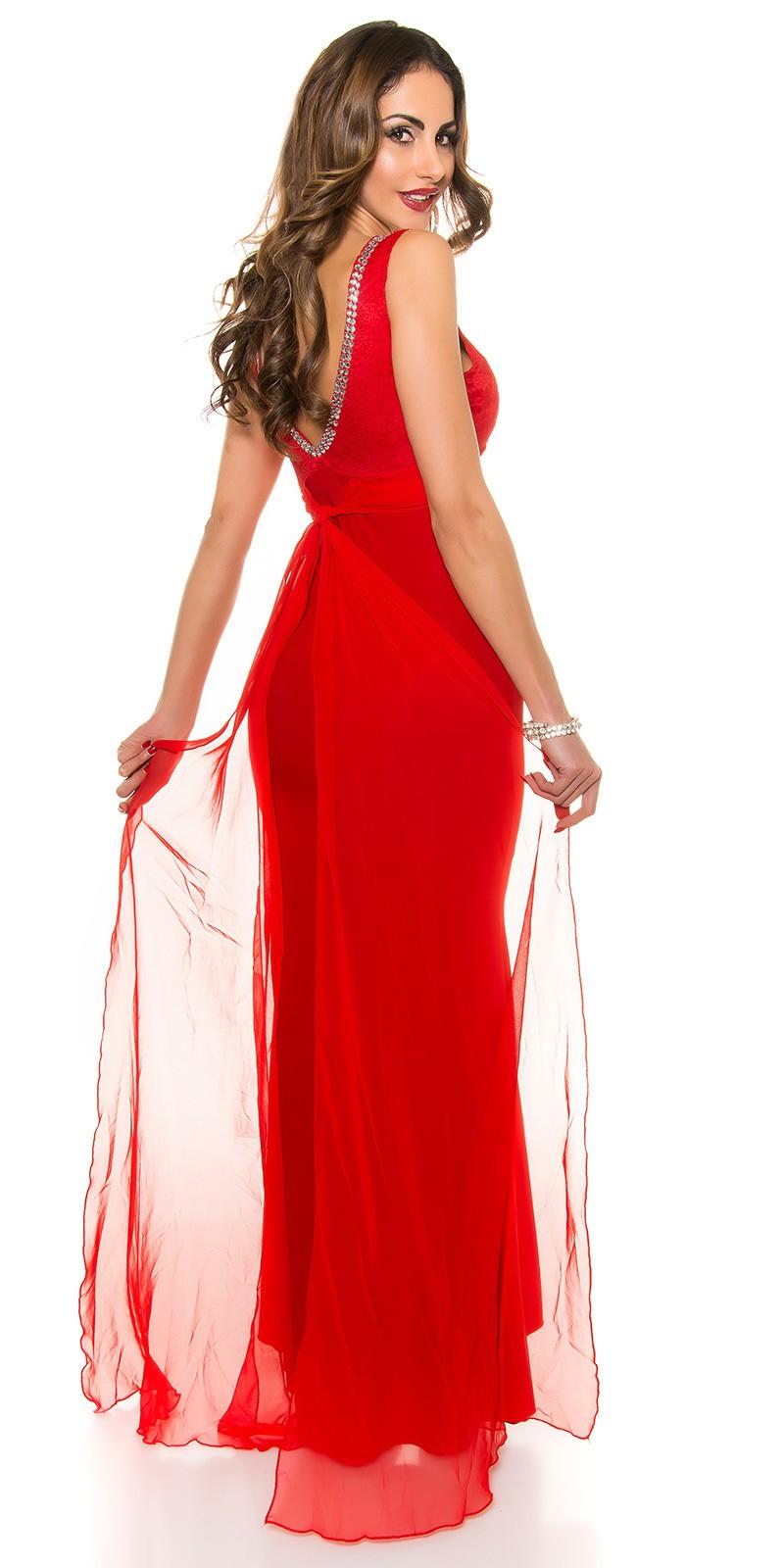 cf92225226db Obrázok pre Spoločenské šaty s čipkou a mašľou   červené ...