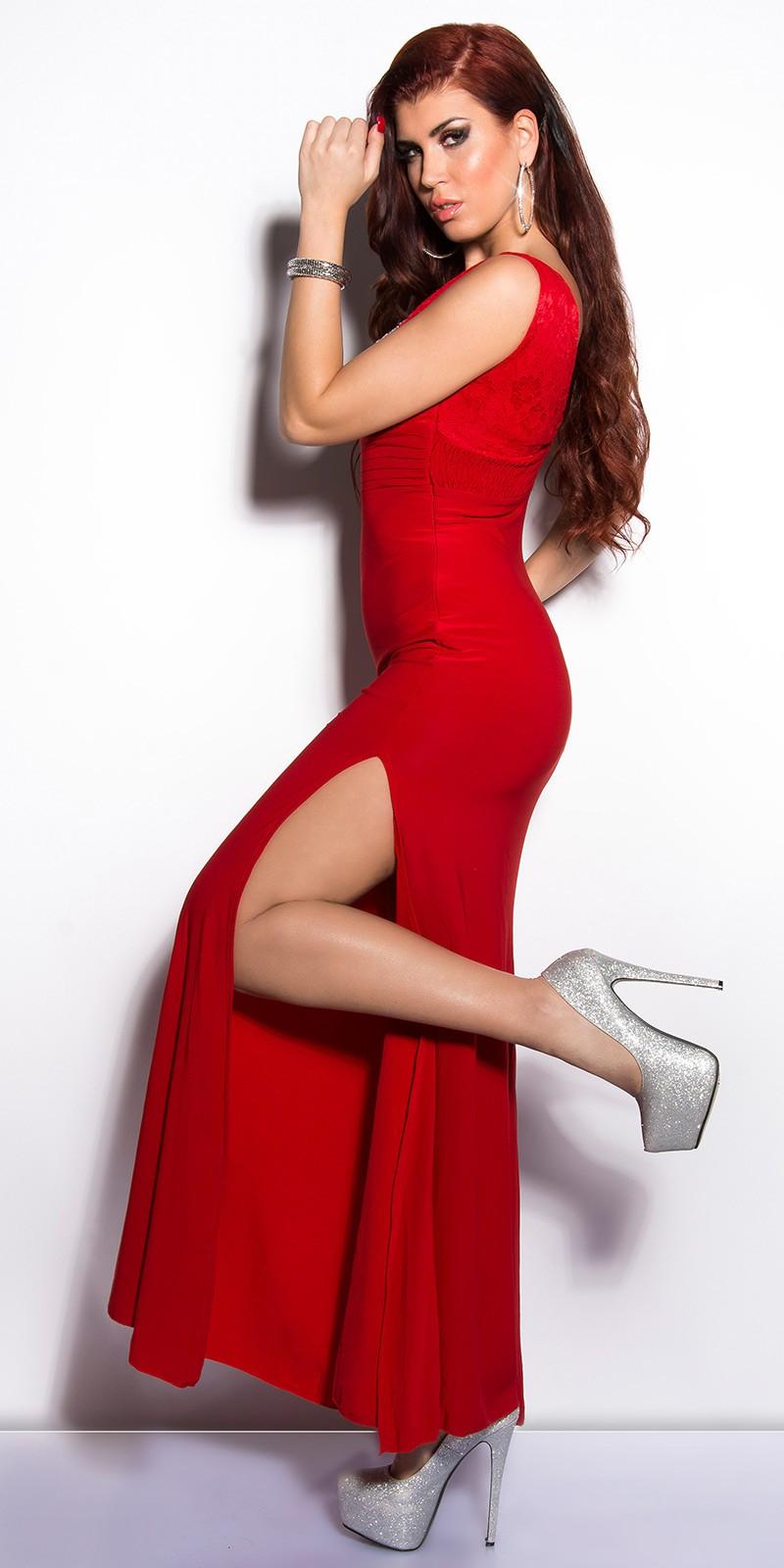 Obrázok pre Elegantné šaty Koucla s čipkou a kamienkami   červené ... 17b9433b77e