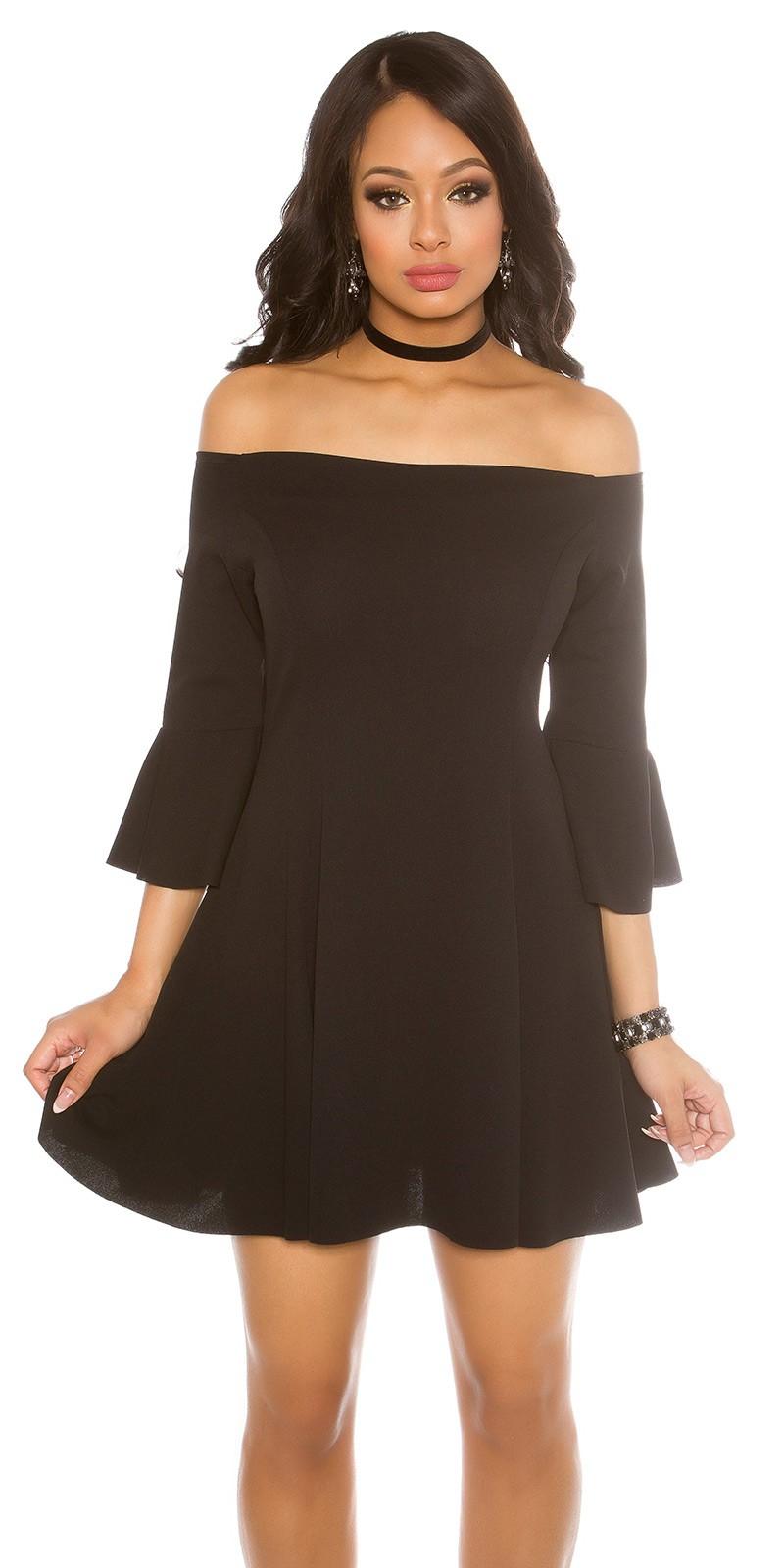 4c6ea612dda1 Obrázok pre Šaty s odhalenými ramenami a rozšírenými rukávmi   čierne. -30%