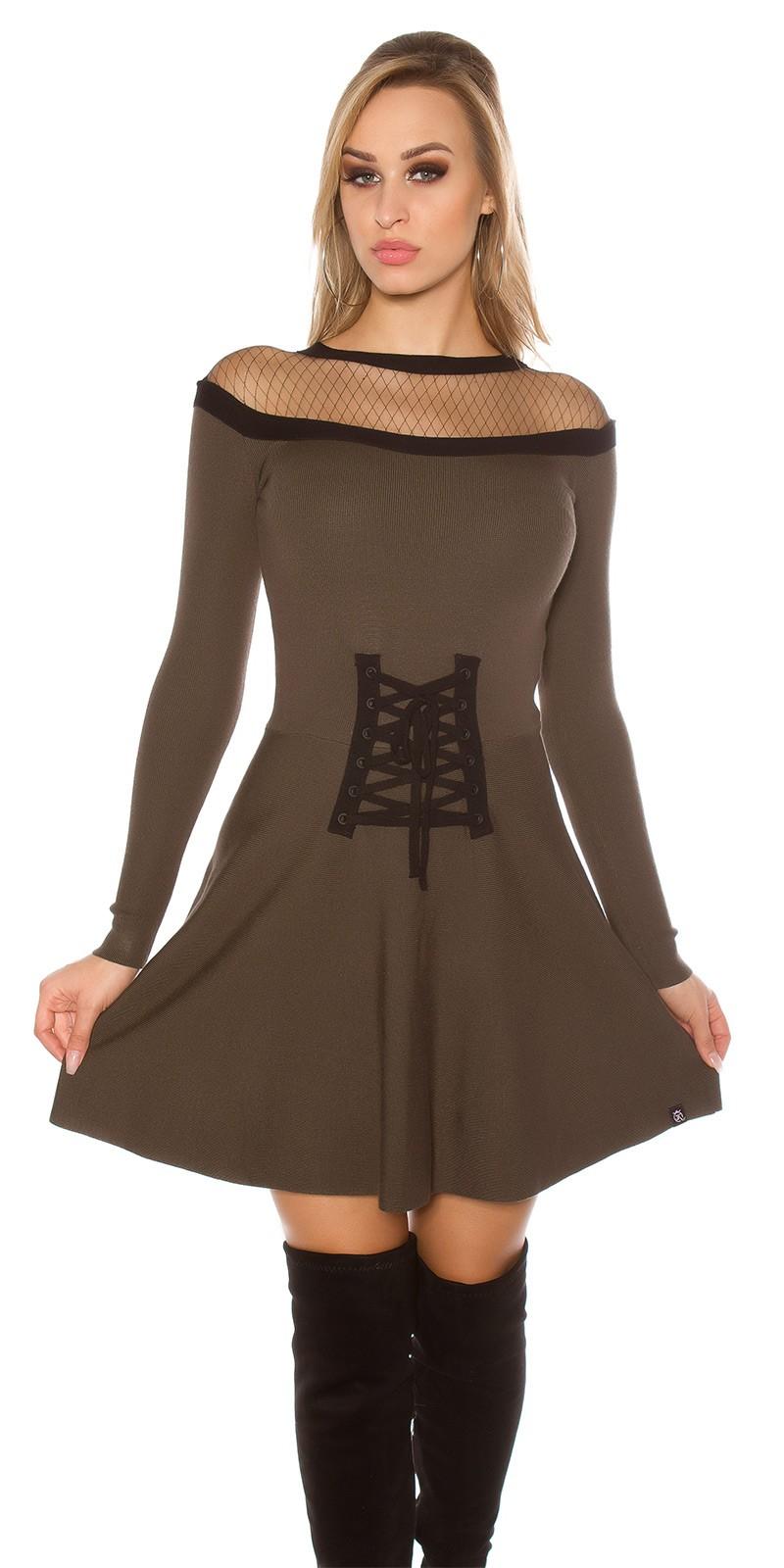 Obrázok pre Elegantné úpletové šaty   khaki. -28% 87625f5c7de