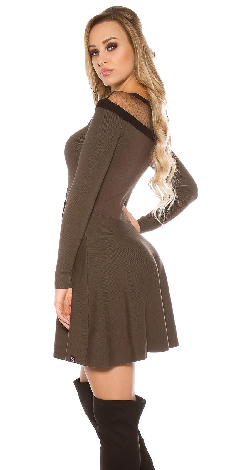 ... Obrázok pre Elegantné úpletové šaty   khaki 960da94ccf3