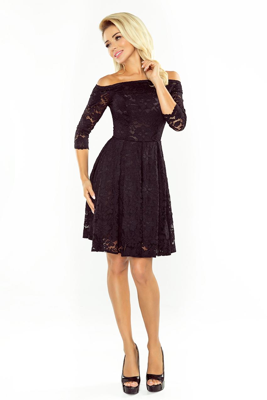 ... Obrázok pre 168-1 Krajkové šaty s odhalenými ramenami Numoco  čierne f262fc6aa70