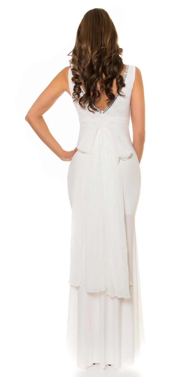 a3fddc07bc02 ... Obrázok pre Spoločenské šaty s čipkou a mašľou   biele ...