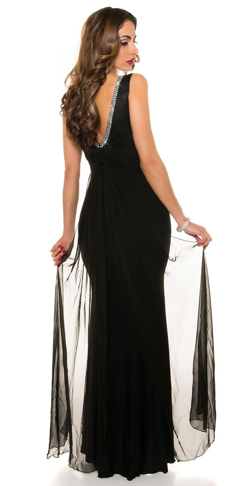 Obrázok pre Spoločenské šaty s čipkou a mašľou   čierne ... 5572def3f9f