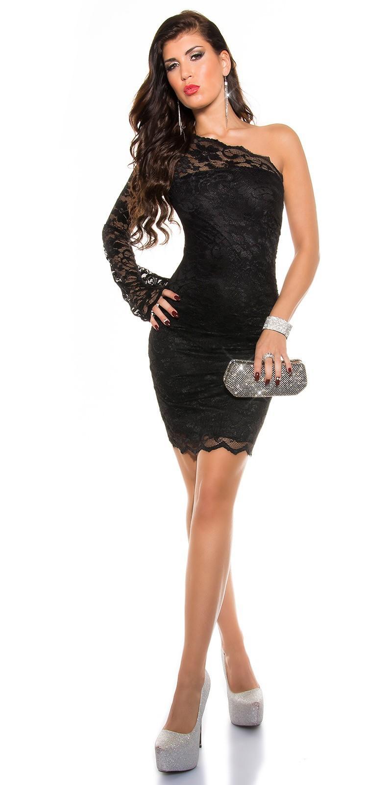 ... Obrázok pre Asymetrické čipkované šaty   čierne ... dd4b25990fc