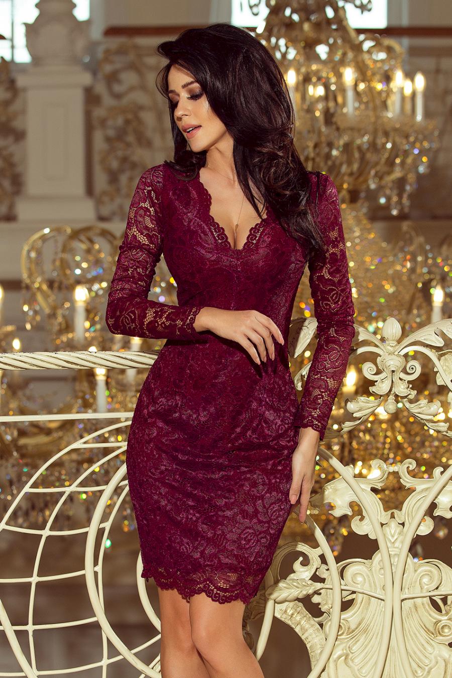 170-5 Krajkové šaty Numoco   bordové 4e0b1d438e7