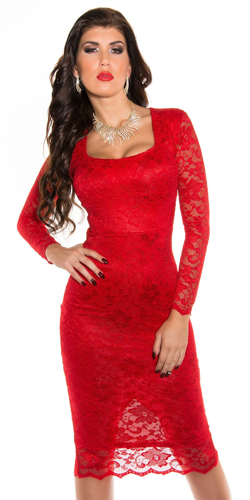 65bf17bb0233 Obrázok pre Čipkované šaty Elegant   červené. -30%